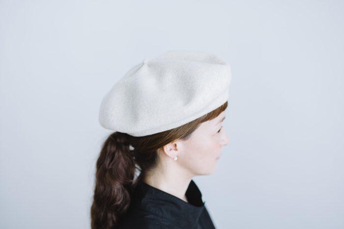 beret top gather big  ecru 2
