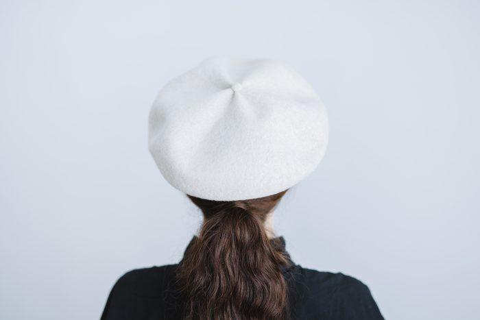 beret top gather big  ecru 3