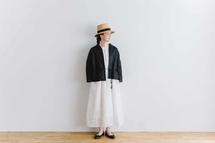 original coating linen HAORI jacket  black 1