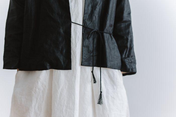 original coating linen HAORI jacket  black 5