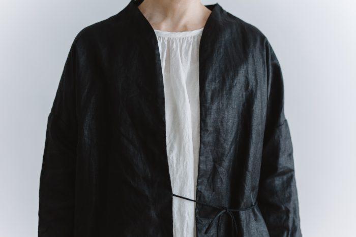 original coating linen HAORI jacket  black 4