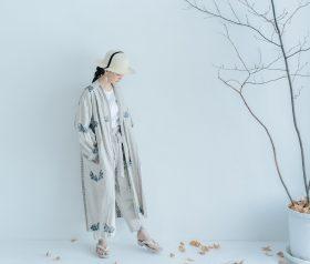 湖水の淵の花 羽織コート  beige gray 6