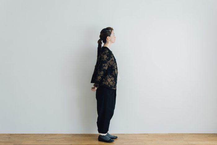 彼女の研究所 ワイドタックパンツ black 3