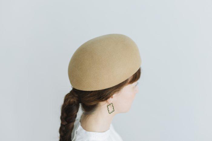 Japanese old wooden block beret  beige 2