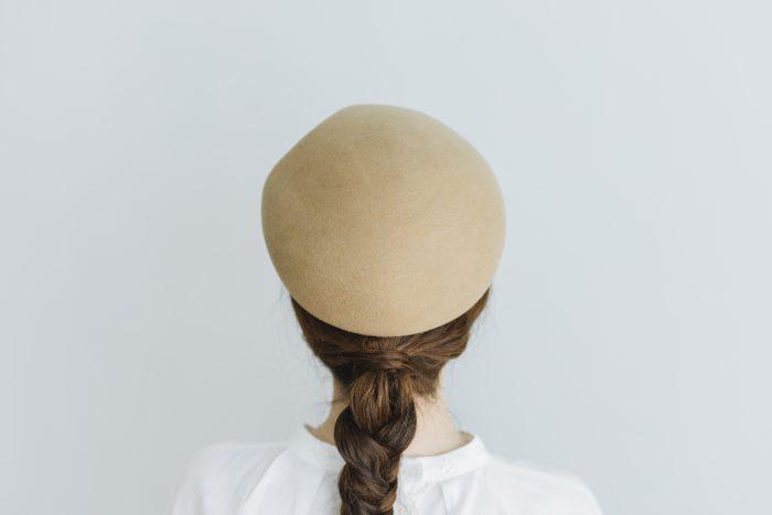 Japanese old wooden block beret  beige 3