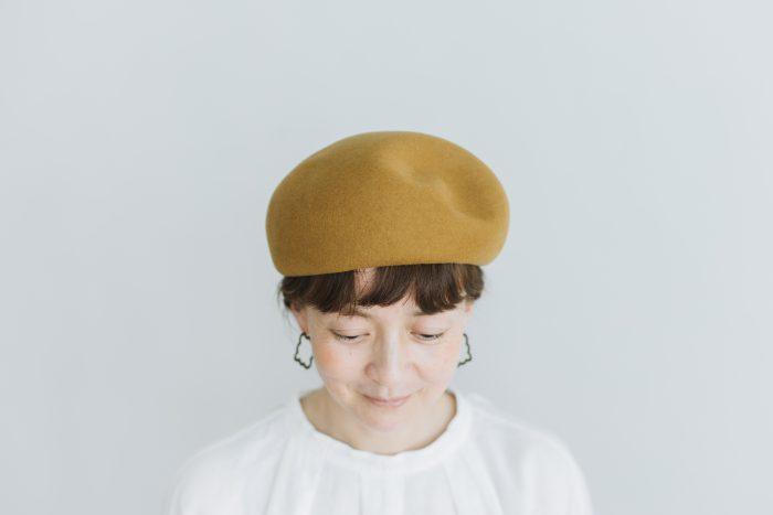 Japanese old wooden block beret  mustard 1