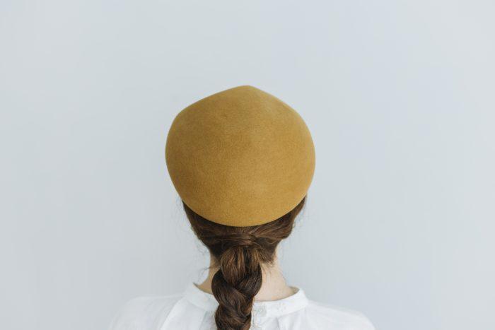 Japanese old wooden block beret  mustard 3