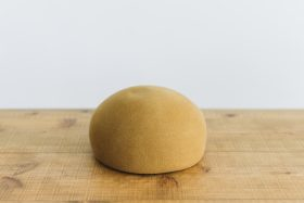 Japanese old wooden block beret  mustard 4