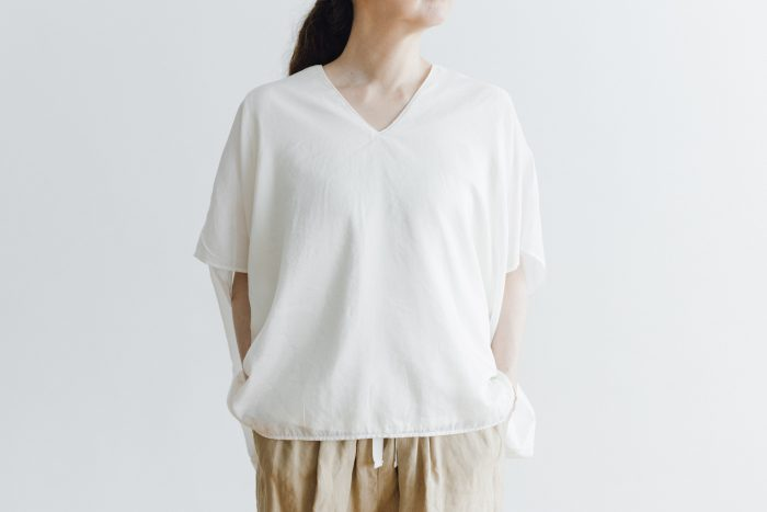 COTTON SILK LAYERED PULLOVER white 2