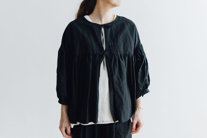 STRING GATHER BLOUSE black 1