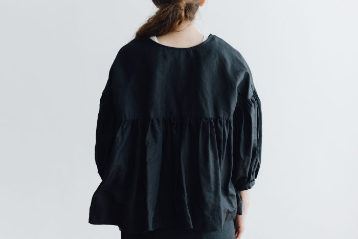 STRING GATHER BLOUSE black 3