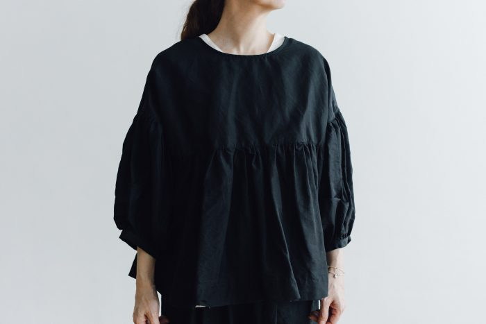 STRING GATHER BLOUSE black 5