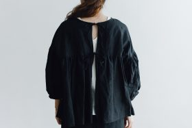 STRING GATHER BLOUSE black 6