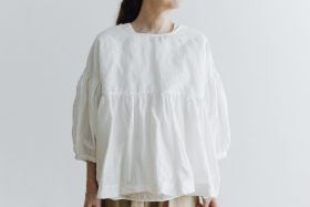 STRING GATHER BLOUSE white 3
