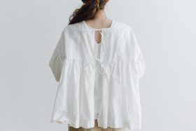 STRING GATHER BLOUSE white 4
