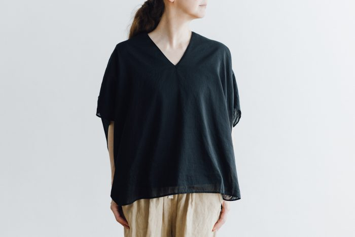 COTTON SILK LAYERED PULL OVER black 2