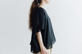 COTTON SILK LAYERED PULL OVER black 3