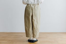 予約 cotton nylon short charlie pants chino beige 3