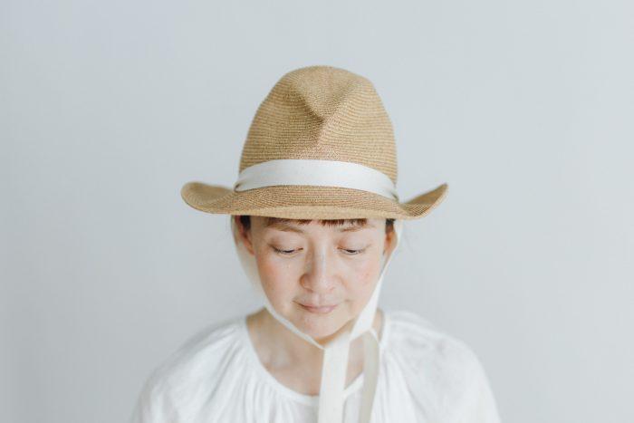 BOXED HAT 7㎝ brim  mixbrown×natural 2