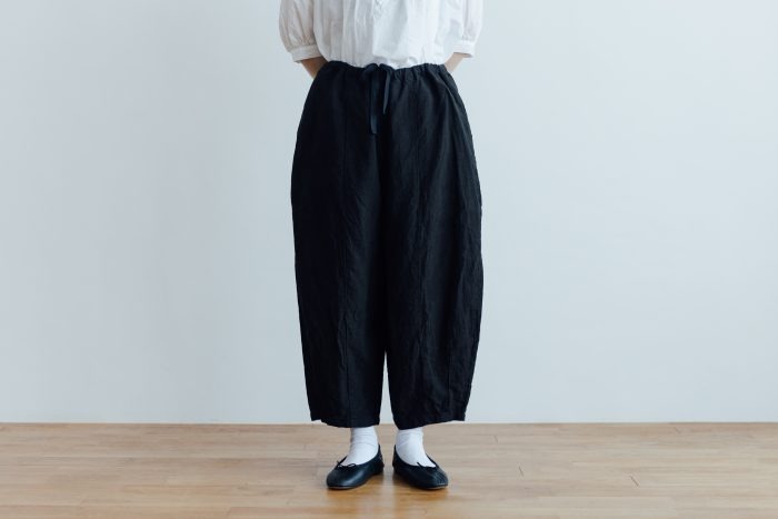 予約 LINEN SHORT CHALIE PANTS black 1