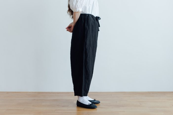 予約 LINEN SHORT CHALIE PANTS black 2