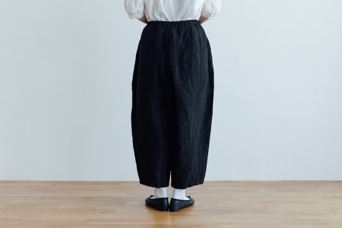 予約 LINEN SHORT CHALIE PANTS black 3