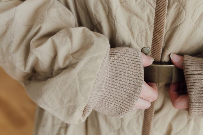Ecru et pousse 限定   QUILTING LONG COAT beige 4