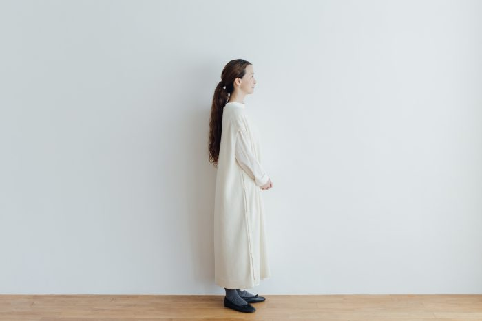 予約 TASMANIA LAMB WOOL LONG KNIT VEST milk 2