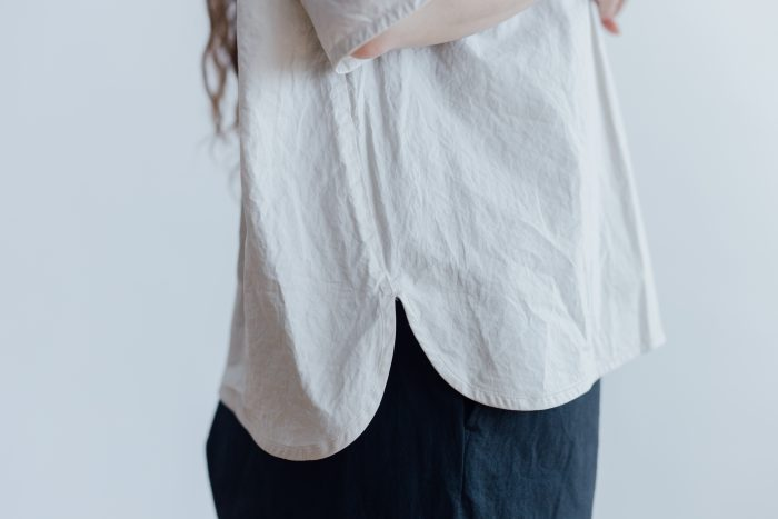 GARMENT DYE PULL OVER BLOUSE ivory 4
