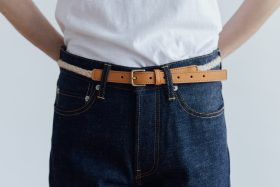 COW LEATHER ROPE BELT camel 4