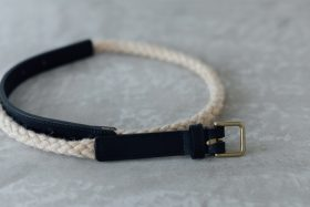 COW LEATHER ROPE BELT black 1