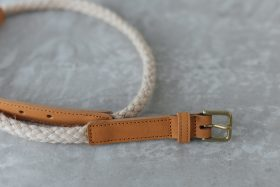 COW LEATHER ROPE BELT camel 1