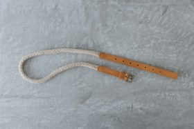 COW LEATHER ROPE BELT camel 2