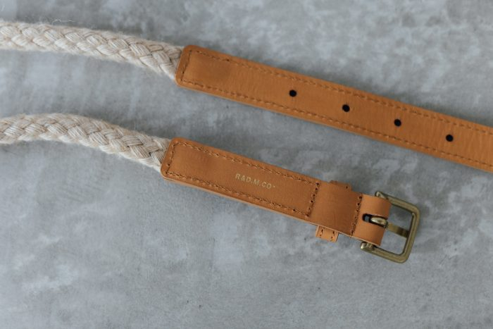 COW LEATHER ROPE BELT camel 3