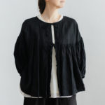 予約 STRING GATHER  BLOUSE noir