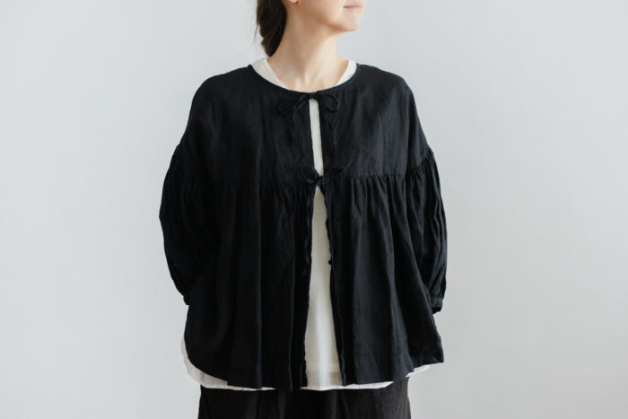 STRING GATHER  BLOUSE noir 1