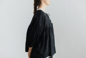 STRING GATHER  BLOUSE noir 2