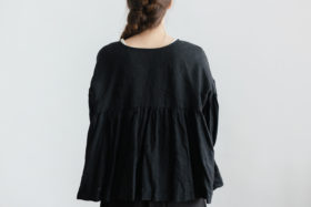 STRING GATHER  BLOUSE noir 3