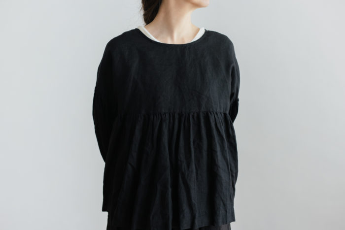 STRING GATHER  BLOUSE noir 4
