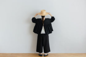 STRING GATHER  BLOUSE noir 6