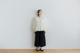 予約 STRING GATHER  BLOUSE milk 5