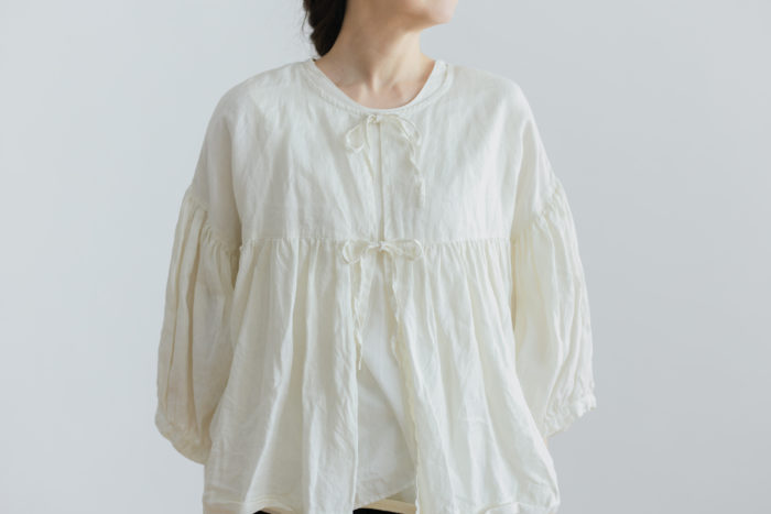 予約 STRING GATHER  BLOUSE milk 1