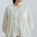 予約 STRING GATHER  BLOUSE milk