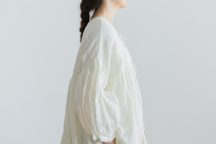 予約 STRING GATHER  BLOUSE milk 2