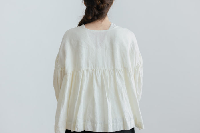予約 STRING GATHER  BLOUSE milk 3