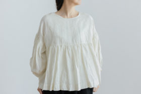 予約 STRING GATHER  BLOUSE milk 4