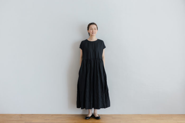 予約 FRENCH SLEEVE ONE-PIECE black 1
