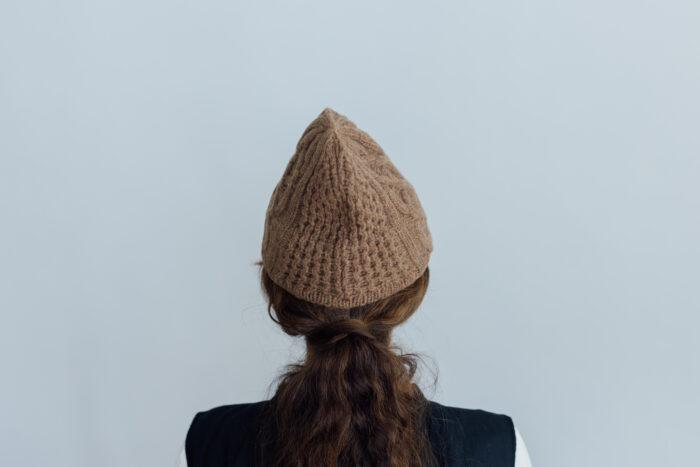 slant cutting knit cap aran2 lamb camel 3