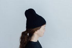 slant cutting knit cap lamb black 1