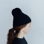 slant cutting knit cap lamb black